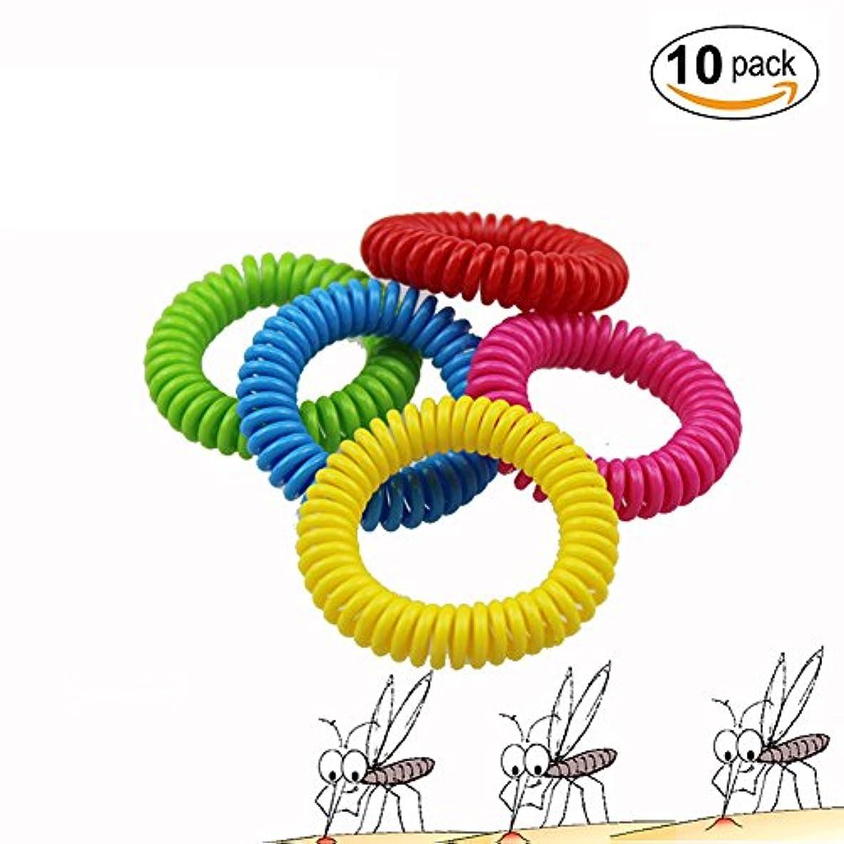 アンビエントこねる補助Funwill 蚊虫除けブレスレット 虫よけリストバンド コイル式 10個入り モスキート、昆虫、害虫、蚊忌避 100% 天然成分 安全 手軽 大人子供共用