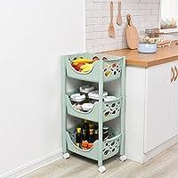 YI LU Deng JU- キッチン野菜ラック、果物貯蔵バスケット、収納棚フロア、破片皿バスケット (色 : Blue, サイズ さいず : 43.5 * 29 * 79cm)