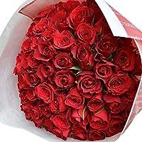 〔エルフルール〕バラの花束 60本 カラー:レッド 結婚記念日 プレゼント 薔薇 誕生日祝い 贈り物 還暦祝い