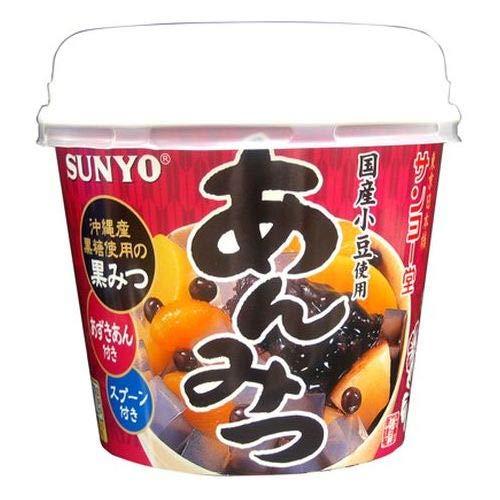 サンヨー堂 あんみつ 黒みつ カップ 国産小豆 沖縄産黒糖使用黒蜜 265g ×6個 1ケース