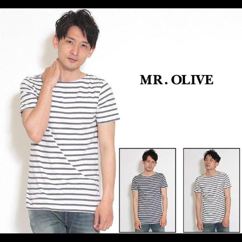 【MROLIVE(ミスターオリーブ)】ユーズドクラフトボーダー/ボートネックTシャツ Mサイズネイビー/オフ