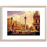Kirchner, Albert Emil,1813-1885「Ansicht der Piazzetta und Piazza di S.Marco in Venedig. 1863」インテリア アート 絵画 プリント 額装作品 フレーム:装飾(銀) サイズ:M (306mm X 397mm)