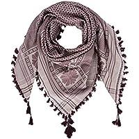 "Merewill Cotton Shemagh Tactical Desert Wrap Keffiyeh Head Neck Arab Scarf for Men 49""x49"" Khaki & Garnet"