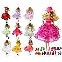ZITA ELEMENT バービー用服装 きせかえセット ラダム 3枚ファッションサマーパーティードレス+5足靴+3本帽子または頭飾り  1/6サイズ(約30cm)ドール適用