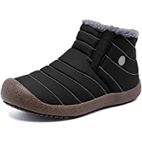 EXEBLUE Slip On Snow Boots Shoes for Men Women,Water Resistant Lightweight Outdoor Ankle Bootie with Fully Faux Fur Lined