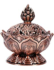 蓮の香バーナー9穴ヴィンテージ香バーナーカバースティックとコーンの香(赤青銅)のための蓮の花型の香ホルダー