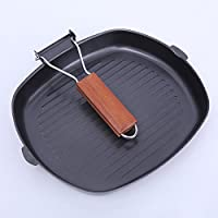 Square Grill Pan Little World 28cm Nonstick Stove Top Cast Iron Grilling Pan Cookware for Oven Cooking, Black
