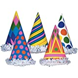 クラブパックof 144マルチカラー幾何パターン化Fun andお祭りパーティーFringed Cone Hat 6
