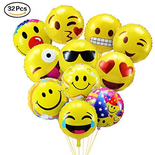 PovKeever 再利用可能な絵文字マイラー 絵文字 風船 笑顔 誕生日 バルーン 文化祭 学園際 運動会 デザイン 飾り付け イベント 装飾 32セット