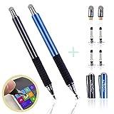 aibow 極細 2in1 ディスク スタイラスペン タッチペン2本+交換用ペン先6個 iPhone iPad Android (ブラック+ブルー)