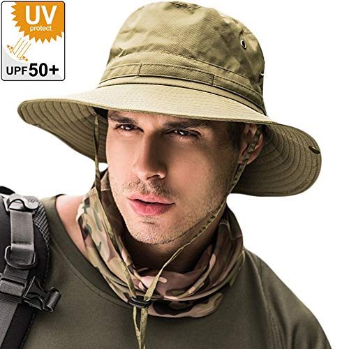 サファリハット メンズ 【UPF50+ UVカット率99% 日焼け防止】ハット 帽子 2WAY 大きいサイズ つば広 軽薄 通気性抜群 日除け 紫外線対策 折りたたみ あご紐付き アウトドア 釣り ハイキング 登山 レディース 男女兼用 (#4.グリーン)
