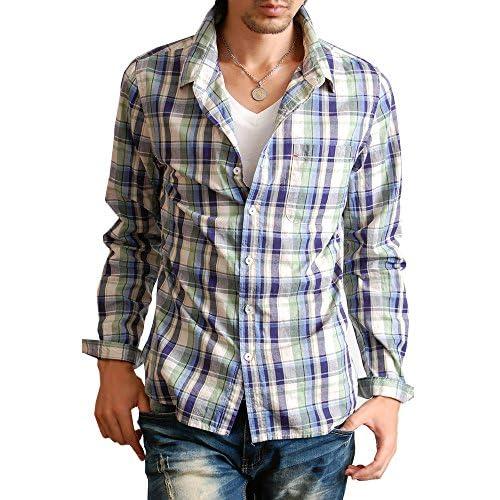 (ハイクオリティプロダクト) High quality product チェックシャツ メンズ 長袖 ギンガムチェック シャツ グリーン L