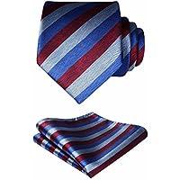 HISDERN Ties for Men Classic Business Silk Tie + Handkerchief Formal Party Suit Necktie & Pocket Square Set