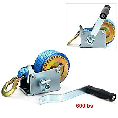 8milelake 600lbs Hand Winch Hand Crank Strap Gear Winch Polyester Strap ATV Boat Trailer Heavy Duty
