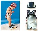 子供水着 男の子 ストライプ水着 子供水着 ボーダーUVラッシュガードパンツセット ブルー 90cm