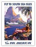 パンアメリカンは南洋諸島にあなたを飛行します - パン・アメリカン航空(PAA) - ビンテージな航空会社のポスター によって作成された ポール・ジョージ・ローラー c.1940s - アートポスター - 23cm x 31cm