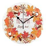 ユキオ(UKIO) 掛け時計 置き時計 壁掛け時計 室内 部屋装飾 壁時計 インテリア おしゃれ 北欧 秋 紅葉 ギフト 時計 アート 部屋 ウォールクロック 円型 かわいい