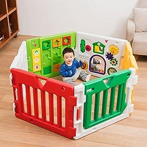 日本育児 ベビーサークル はらぺこあおむしミュージカルキッズランドDX 6ヶ月~3歳半対象 あおむしのおもちゃ付きのベビーサークル