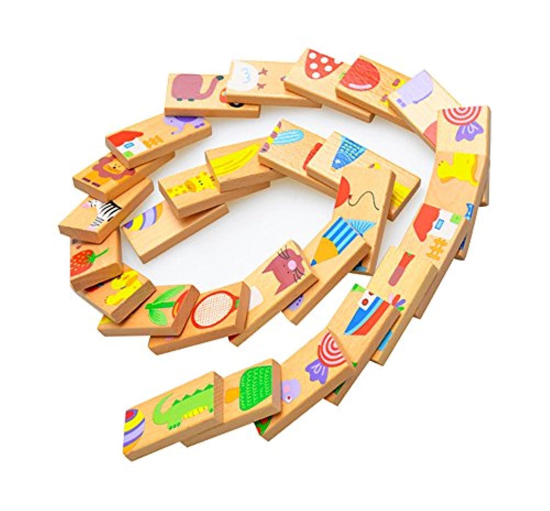 28個動物ソリティアパズルDomino – 子標準Domino木製おもちゃ子供早期教育木製玩具Dominoギフトfor Toddlers Preschool Learning Toys