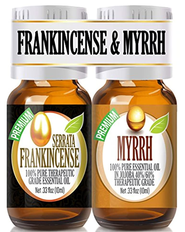 犯罪韓国こだわりFrankincense and Myrrh Essential Oil Combo Pack 100% Pure, Best Therapeutic Grade Essential Oil - 2/10ml by Healing Solutions