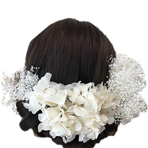[해외]꽃 장인의 가게있는 것이 파인 머리 장식 안개 잔디와 수국의 어레인지 흰색 프리 자 브드 후라 U 핀 원단 흰색/Flowers and craftsmen `s shop Paper hair ornament Kasumi grass and hydrangea arrangement White preserved flower U pin tailored...