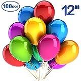 TUUKEE 風船 誕生日グッズ 結婚式 バルーン カラフル カラー風船 35cm 極厚3.2グラム 10色 (100個セット)