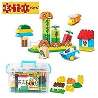 ETI Toys 55 Piece Bublu Veggie Garden Building Blocks; Build Kitchen Garden, Doghouse, Plants, Barrow. 100% Non-Toxic, Creative Skills Development Best Gift, Toy for 3, 4, 5 Year Old Boys and Girls