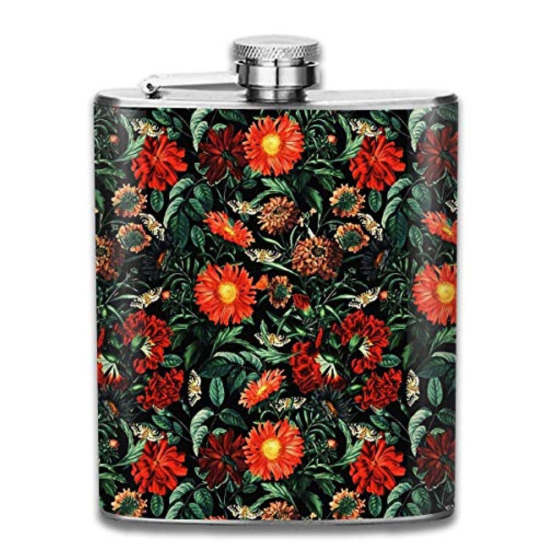 ほぼ取り消す近傍花と蝶々フラスコ スキットル ヒップフラスコ 7オンス 206ml 高品質ステンレス製 ウイスキー アルコール 清酒 携帯 ボトル
