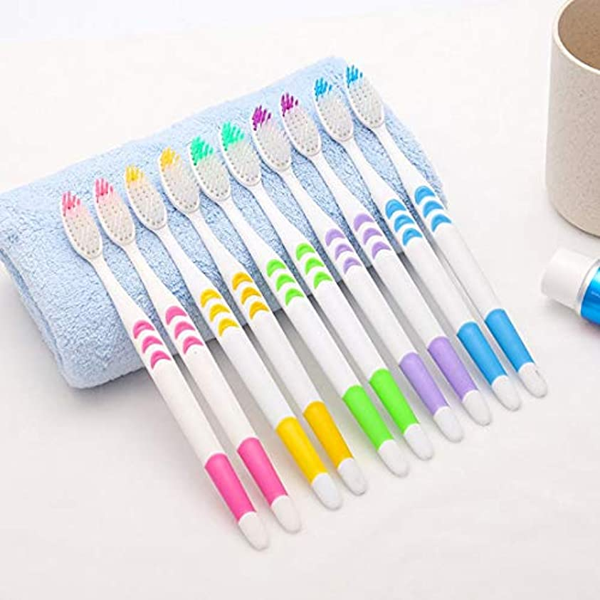 豚色合い楽観的10ピースセットホームファミリー大人の滑り止め歯ブラシポータブルソフト歯ブラシクリーニング歯ガードツール (PandaWelly)