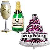 SODIAL 大規模な誕生日パーティーバルーン、セットにつき3個 - ケーキ - シャンパン、ボトル、ガラスの形 - By