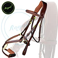 Royal Fully Adjustable Fancy Mexican Bridle with Stylish Broad Head Piece & PP Rubber Grip Reins./ Vegetable Tanned Leather./ Brass Buckles.