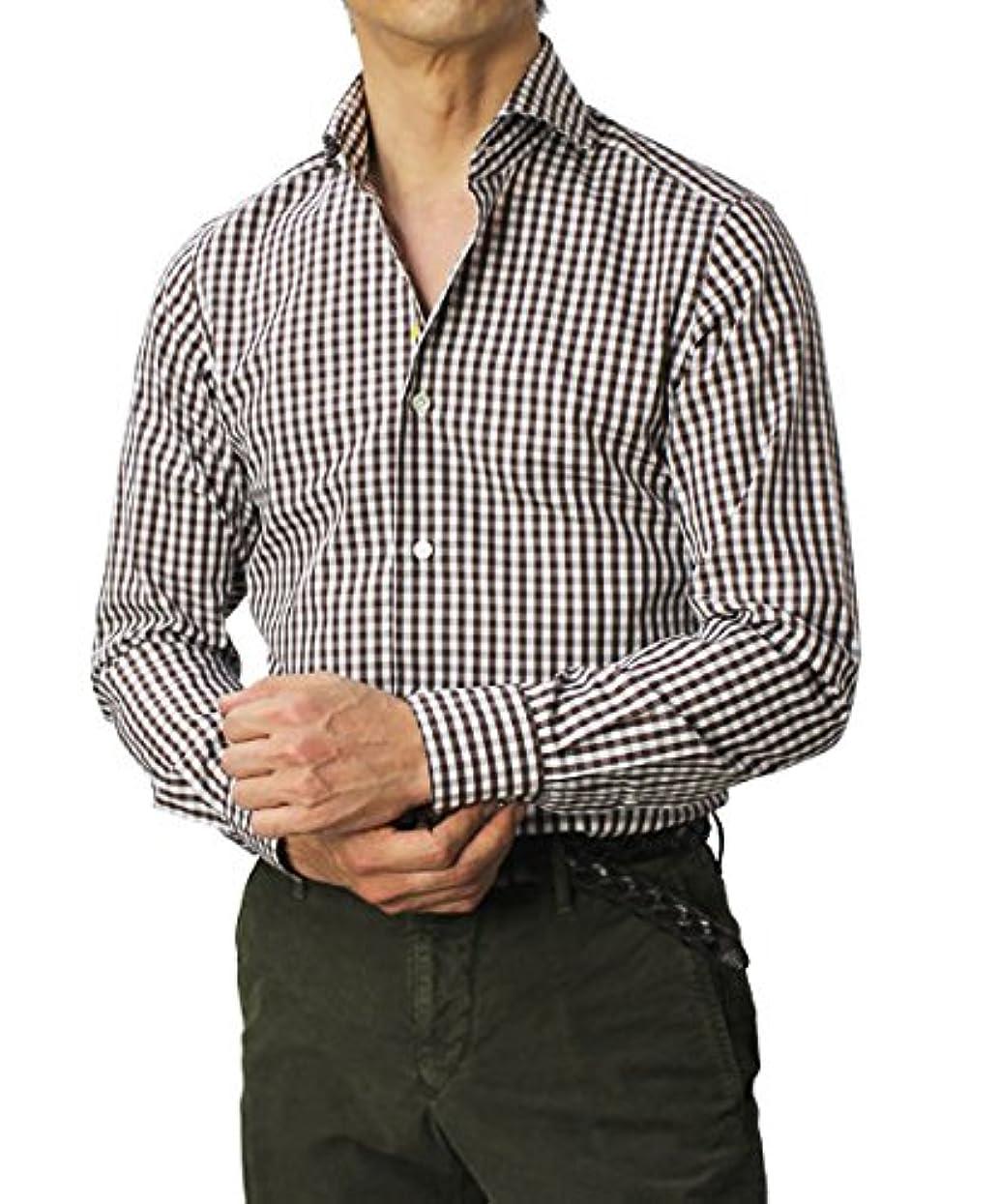 指導する印象的経過GIANNETTO コットン ギンガムチェック柄 セミワイドカラー シャツ 42,ブラウン