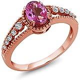 Gem Stone King 1.01カラット 天然ミスティックトパーズ(ピンク) 天然トパーズ(無色透明) シルバー 925 ローズゴールドコーティング 指輪 リング