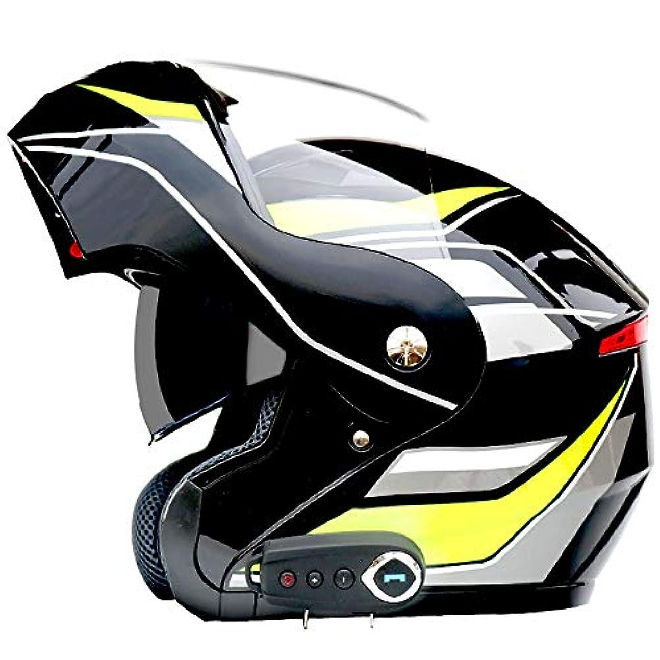 繰り返し農業力強いETH 男性と女性四季ユニバーサル防曇ダブルレンズオートバイのbluetoothヘルメット快適な通気性の多色パターン 保護 (色 : Black b, Size : XL)
