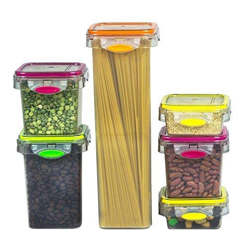 12ピースカラフルなプラスチックコンテナ食品ストレージAir Tight Set forパントリーSnack