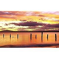 日の出、赤い空、ブリッドポート、北東部のタスマニア州、オーストラリア キャンバスの 写真 ポスター 印刷 旅行 風景 景色 - (105cmx70cm)