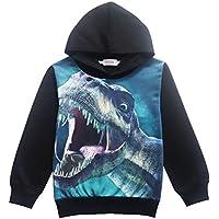 CM-Kid Boys Toddler Hoodie Dinosaur Cool Trendy Tshirt Hot Tops Long Sleeve Sweatshirt for Kids 4 5 6 7 8 T