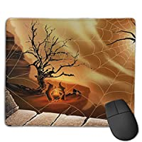 Cheng xiao Mouse Pad Spider Web Funny Pattern Rectangle Rubber Mousepad Non-toxic Print Gaming Mouse Pad with Black Lock Edge,9.8 * 11.8 in,ベーシック マウスパッド ゲーム用 標準サイズ
