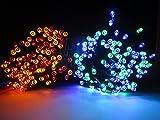 LED ソーラー イルミネーション 太陽発電 200球 点灯2パターン 防雨 屋外 クリスマス イルミ 自動ON/OFF (4色)