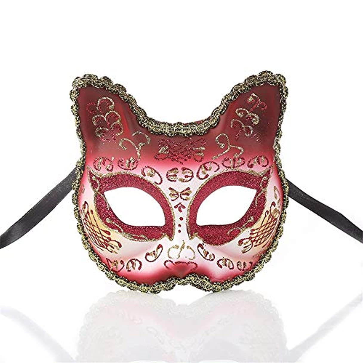 ダンスマスク ワイルドマスカレードロールプレイングパーティーの小道具ナイトクラブのマスクの雰囲気クリスマスフェスティバルロールプレイングプラスチックマスク ホリデーパーティー用品 (色 : ワインレッド, サイズ : 13x13cm)