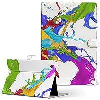 MediaPad M3 Lite 10 HUAWEI ファーウェイ タブレット 手帳型 タブレットケース タブレットカバー カバー レザー ケース 手帳タイプ フリップ ダイアリー 二つ折り ユニーク インク ペンキ カラフル 007940