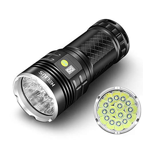 Helius 懐中電灯 LED usb充電式 強力らいと ledライト フラッシュライト 超高輝度 明るさ12000 ルーメン 15 x XM-L T6 Led 4 x 18650 バッテリー ハンディライト 明るい 強力 軍用 最強 防水 防災 停電対応 夜釣り 地震対策 電量ディスプレイ 4モード調光可能 (USBケーブル 吊りロープ&18650リチウム電池付属)