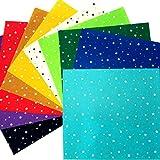 HaAimNay 模様入り カット フェルト ( 星 ハート 肉球 ) カラー 10色 セット 30㎝ × 30㎝ 厚さ 1mm 手芸 材料(星(スター)柄)