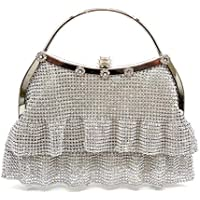 Women's Clutch Bag Rhinestone Dinner Party Clutches Ladies Chain Evening Bag Handbag Bridal Wedding Prom Bag Purse,White,18.5 * 18.5 * 6CM