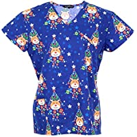 Cassandra Women's Christmas Winter Holiday Festive Medical Nursing Tie Back Scrub Top Shirt