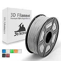 3D Hero 3Dプリンターフィラメント PETG銀色1.75mm 1KG (高い透明度,光沢のある表面),造形材料,サイズ精度+/- 0.02 mm無臭,3Dプリンタおよび3Dペンに適し、良質な原材料