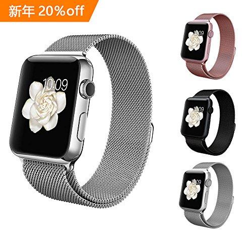 BRG For apple watch バンド,ミラネーゼループ アップルウォッチバンド アップルウォッチ1 apple watch series 2 apple watch series 3 ステンレス留め金製(42mm,シルバー)18か月保証付き