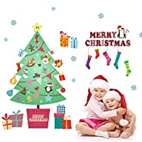 Dragon Honor ウォールステッカー クリスマス 装飾 可愛い クリスマスツリー 雪花 クリスマス·デコレーション 幼稚園/子供部屋/リビングに対応 インテリア 壁紙 シール はがせる 生活防水