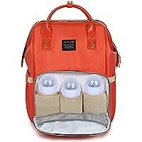 おむつバッグバックパック、大容量Nappy Changingバックパック多機能旅行バックパック防水ユニセックスベビーおむつトートバッグfor Baby Care MommyバッグDadリュックサック オレンジ TCNPYBG-OR