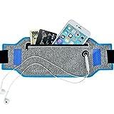 AKAMARU ウエストポーチ ウエストバッグ 防水 超薄型 厚さ僅か1mmの割にフィット感抜群 ランニング ポーチ ウォーキング サイクリング ジョギングポーチ iPhone 7 Plus/6S Plus Sony Galaxy S6 S7Edge 5.7インチまでのスマホ収納可能 (ブルー)
